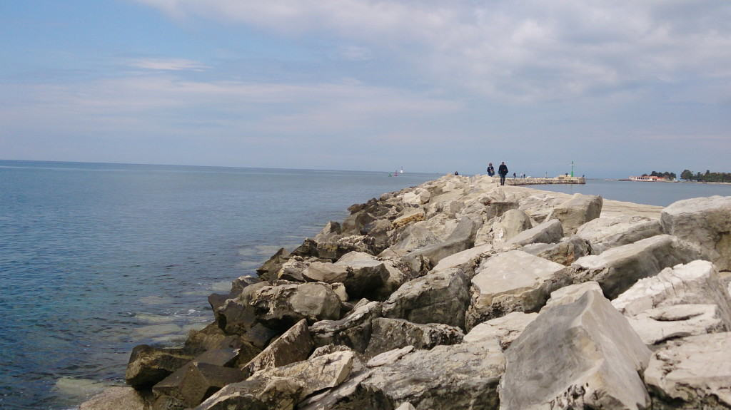Walking along the seafront in Umag