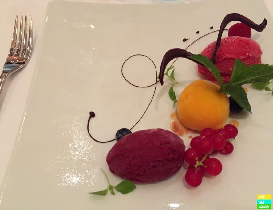 Vegan blueberry, mango and raspberry sorbet