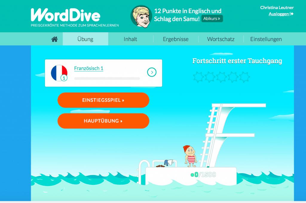 Sprachen lernen mit Word Dive