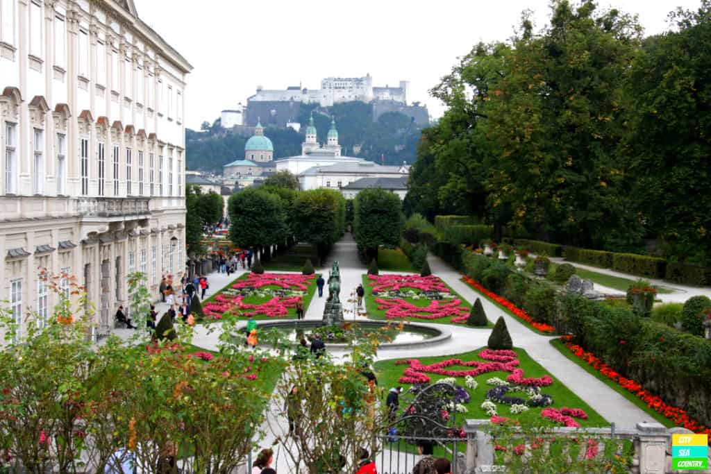 Castle Mirabell in Salzburg with the Fortress Hohensalzburg in the background.